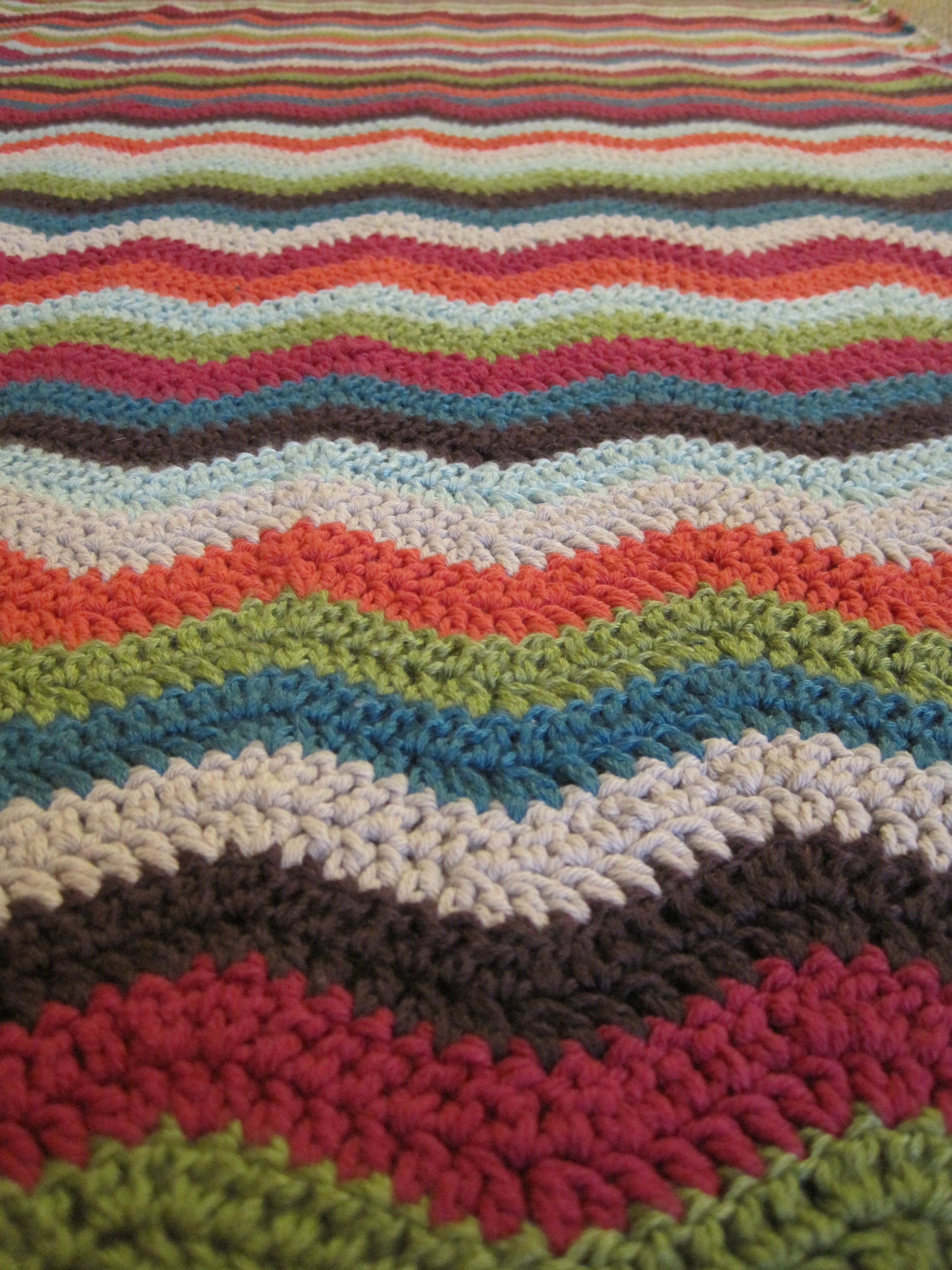 Crocheted ripple blanket My Gan has made us all so many blankets.