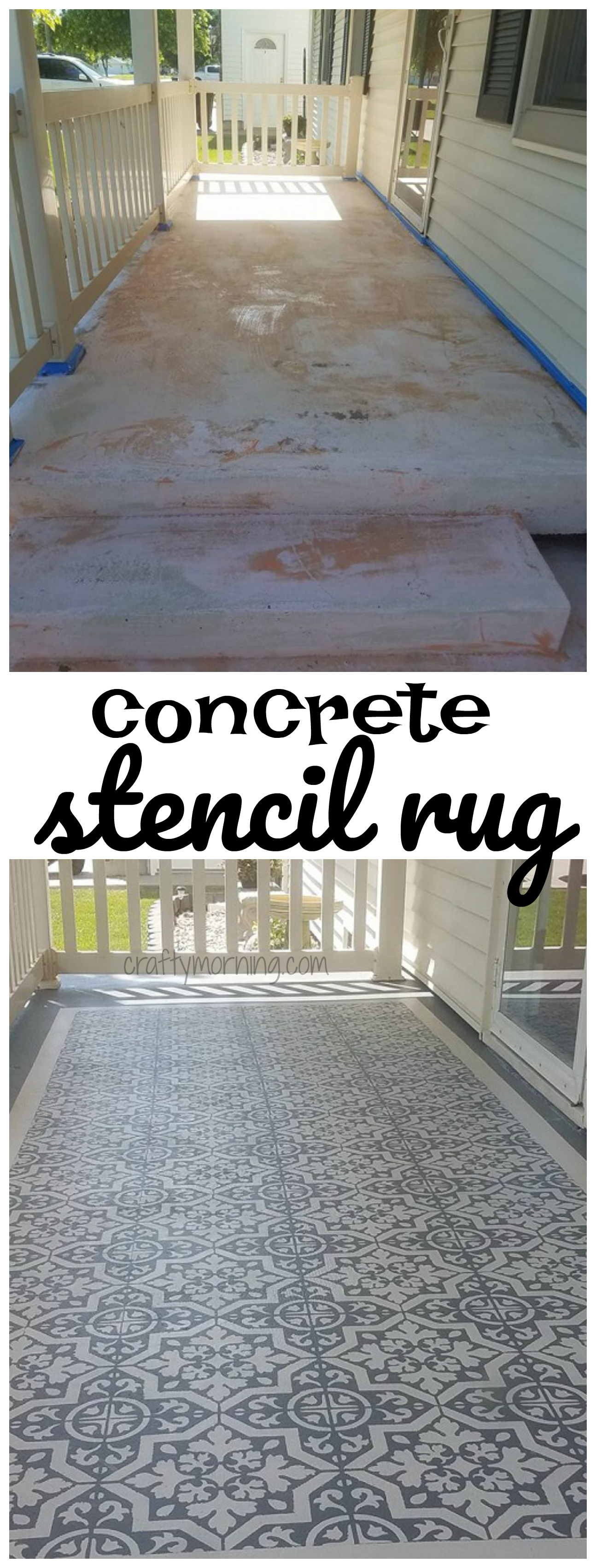 Diy Concrete Stencil Patio Rug This Is Beautiful Great Directions
