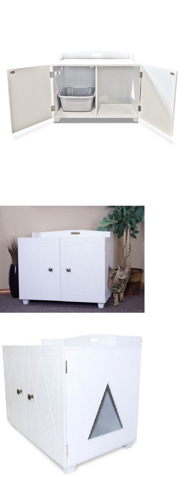 Litter Boxes 100411: Cat Litter Box Furniture Enclosed Covered Hidden Kitty  Boxes White Pet Bench
