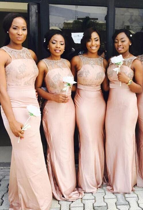 d75739f1b0bb5 Pink Bridesmaid Dresses,African Sheer Bridesmaid Gowns,Formal Maid Of Honor  Dress,Wedding Party Gowns