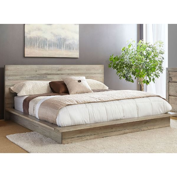 Modern Rustic Whitewash King Platform Bed Renewal King Bedroom