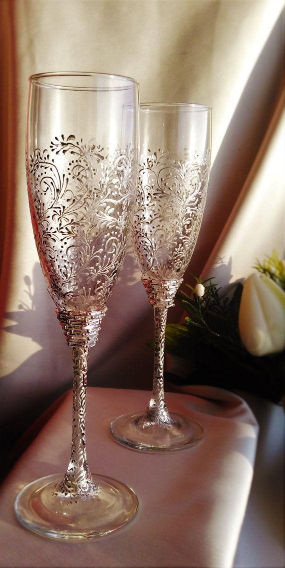 Wedding Silver Glasses Champagne Flutes Toasting Set
