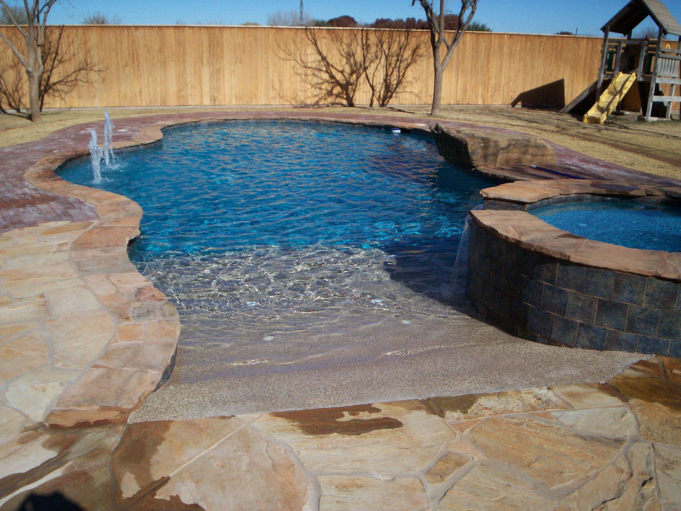 Beach Entry Pools Benches The Pool Is Plastered In Hawaiian Blue The Pool Deck Is Old My