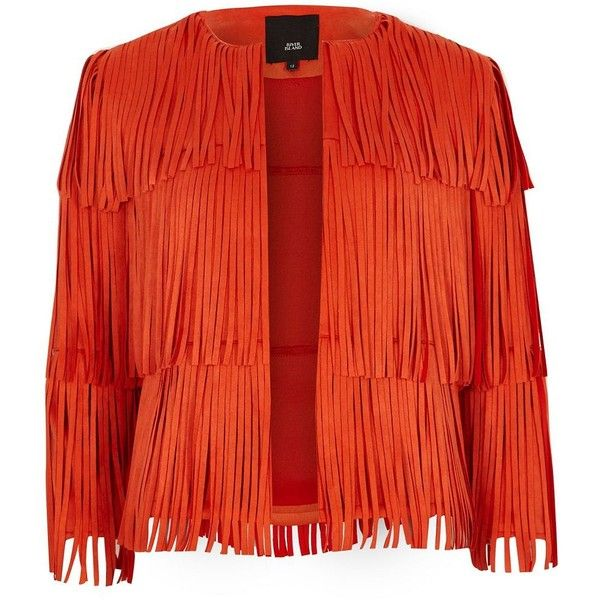 8a442dc5694 River Island Red faux suede fringe jacket ($140) ❤ liked on Polyvore  featuring outerwear, jackets, coats / jackets, red, women, synthetic jacket,  river ...