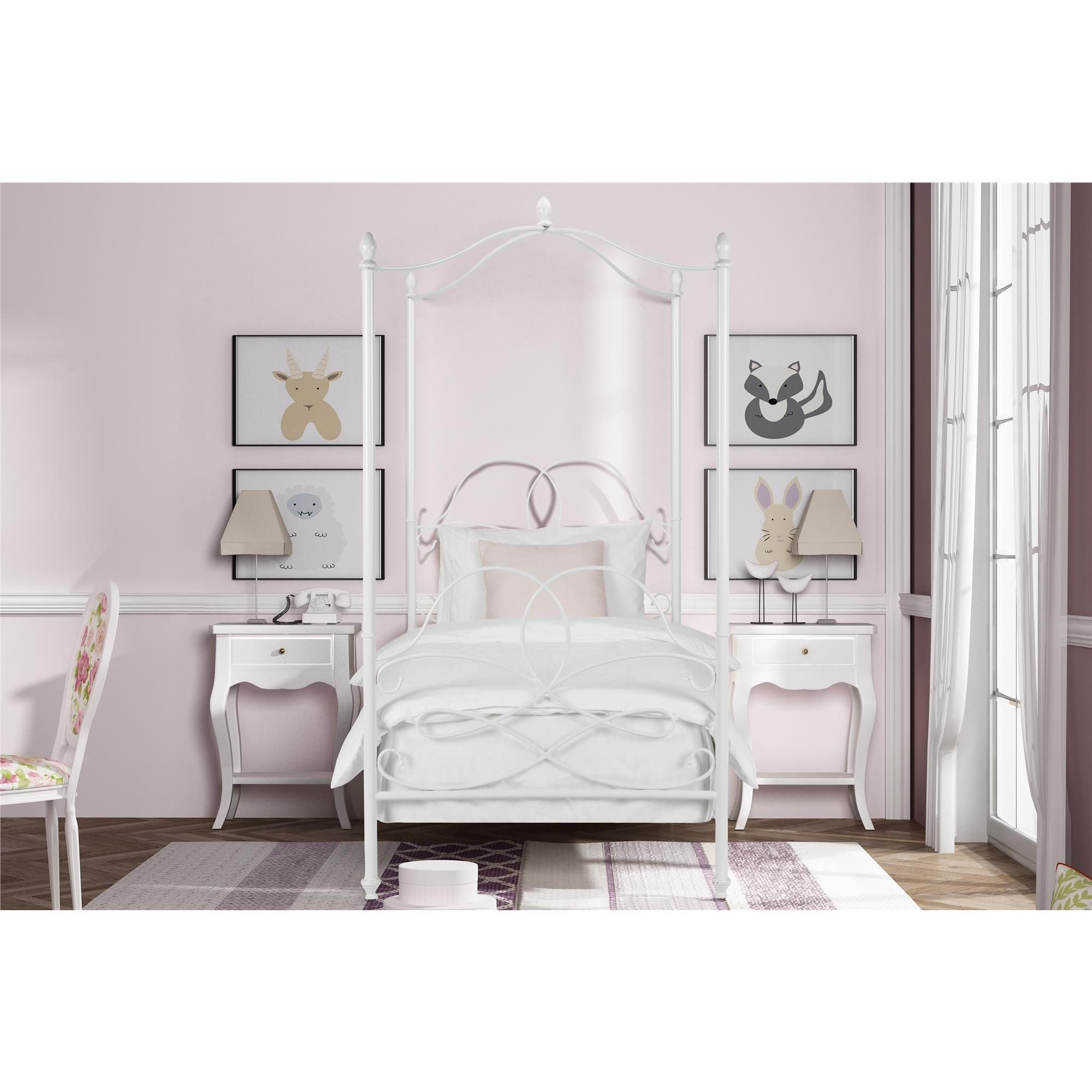 Avenue Greene Fancy White Metal Canopy Twin Bed (Twin canopy bed white)  sc 1 st  Pinterest : white metal canopy bed - memphite.com