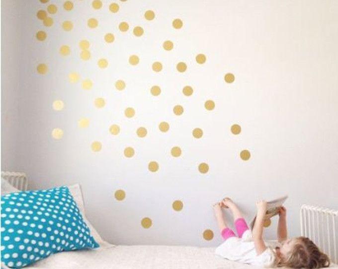Foto Sticker Muur.Gold Polka Dot Decals Spot Decal Home Decor Vinyl Wall Stickers
