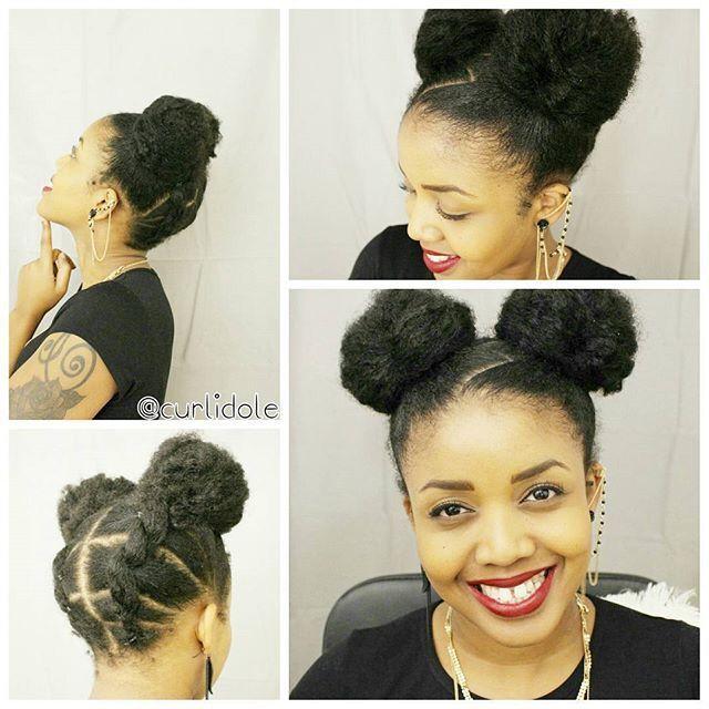 Natural Double Bun Hairstyle Natural Hair Styles Hair Styles Hair