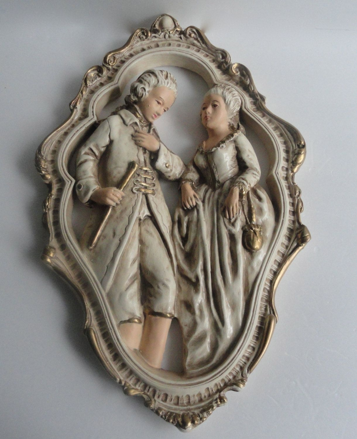 Large chalkware wall art victorian couple by cherylanngoods on