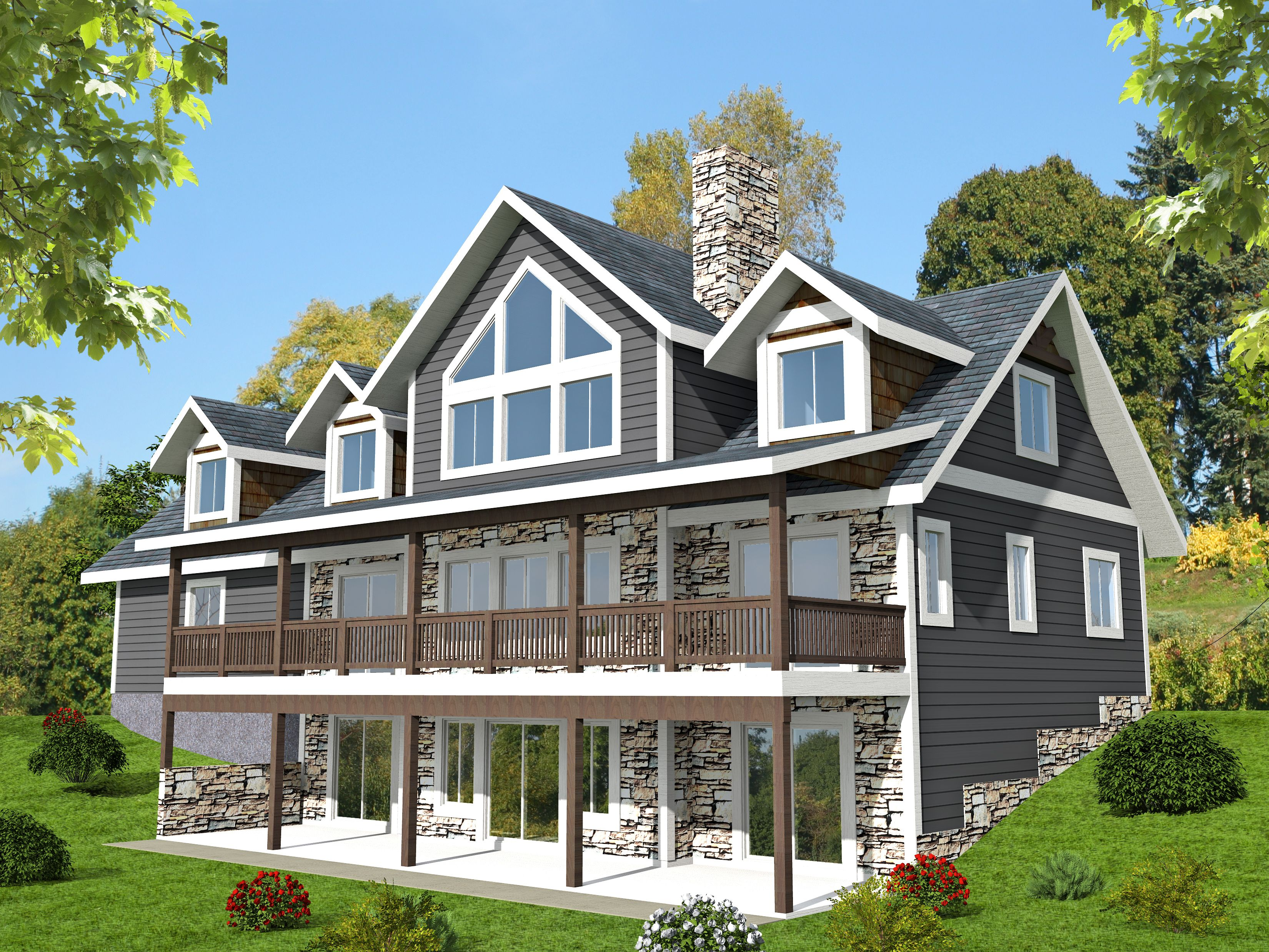 Plan 35514gh 3 Bed Sloping Lot House With Grand Rear