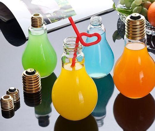 LED Light Bulb Shape Bottle Drink Cup Party Decor Milk Juice Light Bulbs Cup