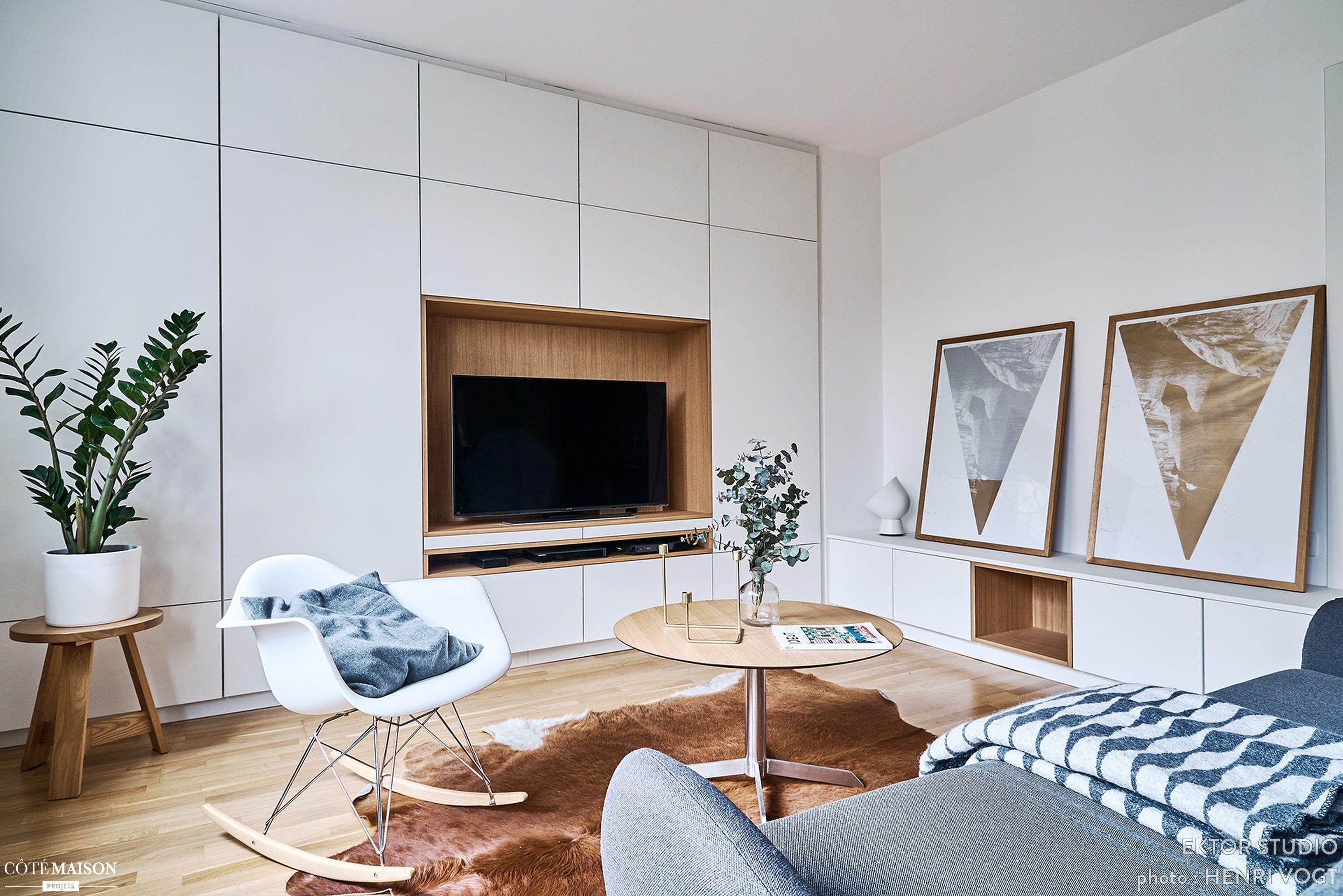 Dans ce salon strasbourgeois, un meuble sur-mesure prend possession ...