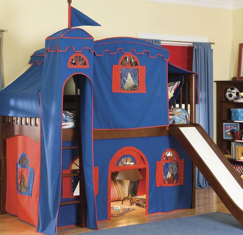 Castle Loft Bed With Slide Tentbedteen Outdoor Fireplace