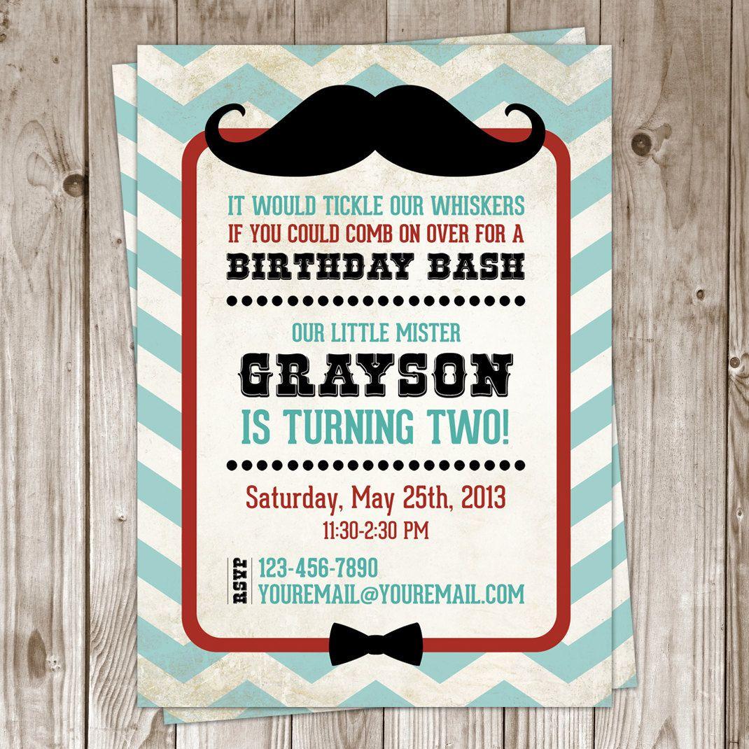 Little Man Mustache Birthday Invitation $25 for 12 invitations ...