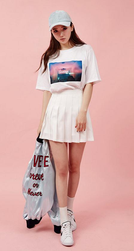 Pleated Skirt Mini Dress