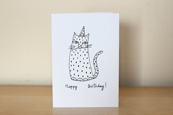 Hand drawn cat birthday card funny cat drawing cute birthday card hand drawn cat birthday card funny cat drawing cute birthday card polka dot bookmarktalkfo Images