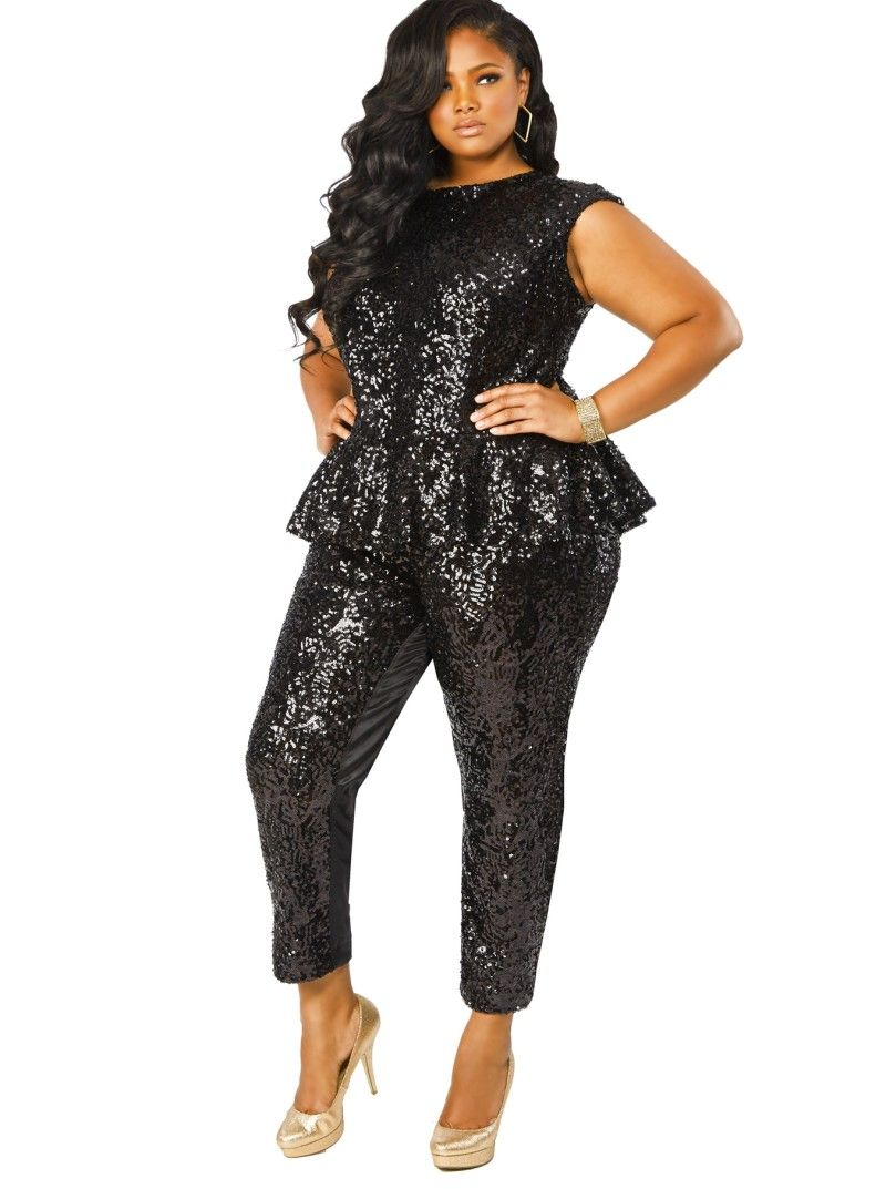 cf22c37d248 Gotta Have It  This Sequin Peplum Plus Size Jumpsuit from Monif C ...