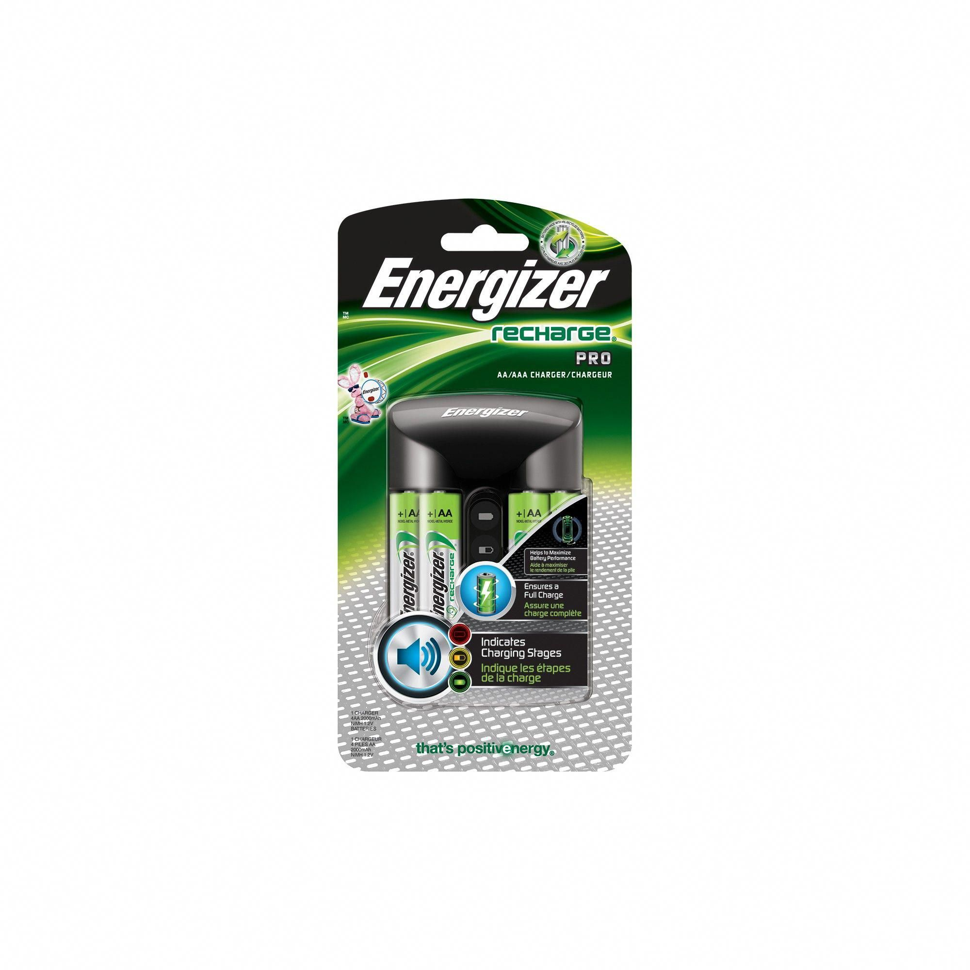 Energizer Recharge Pro Battery Charger (CHPROWB4), Silver