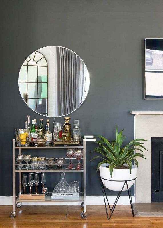 Gray Living Room With Bar Cart Home Bar Decor Apartment Bar Small Apartment Storage