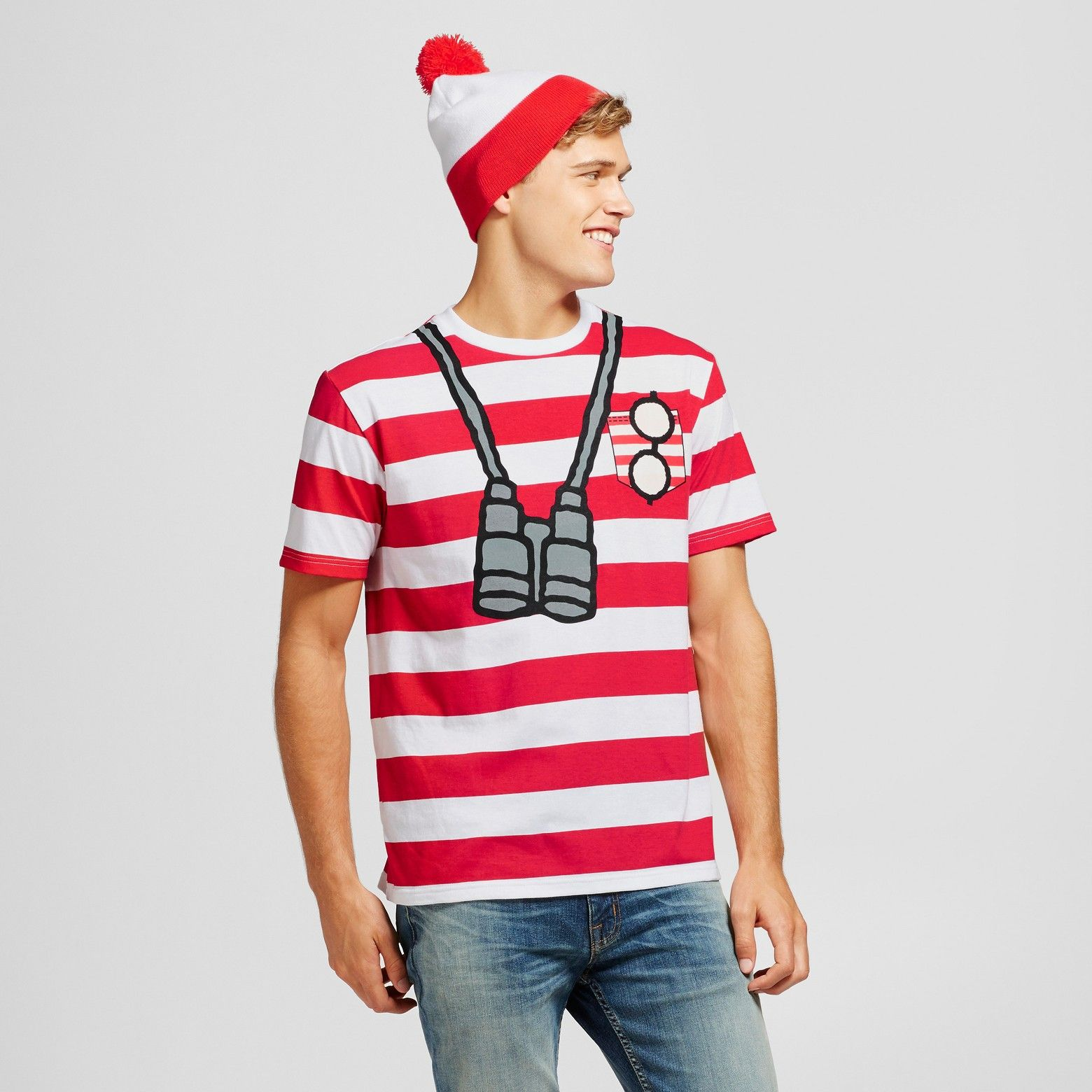 Men s Where s Waldo with Beanie Graphic T-Shirt - Red White   Target ... 197b119fc1c