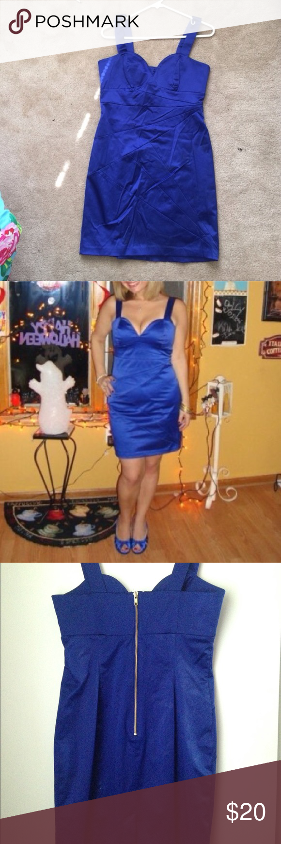 Royal Blue Sweetheart Dress Super cute royal blue dress. This dress is form fitting and reaches about mid thigh. The material is a velvety blue that has a little shine to it. There is a slip underneath. No rips or fading of color. H&M Dresses Mini