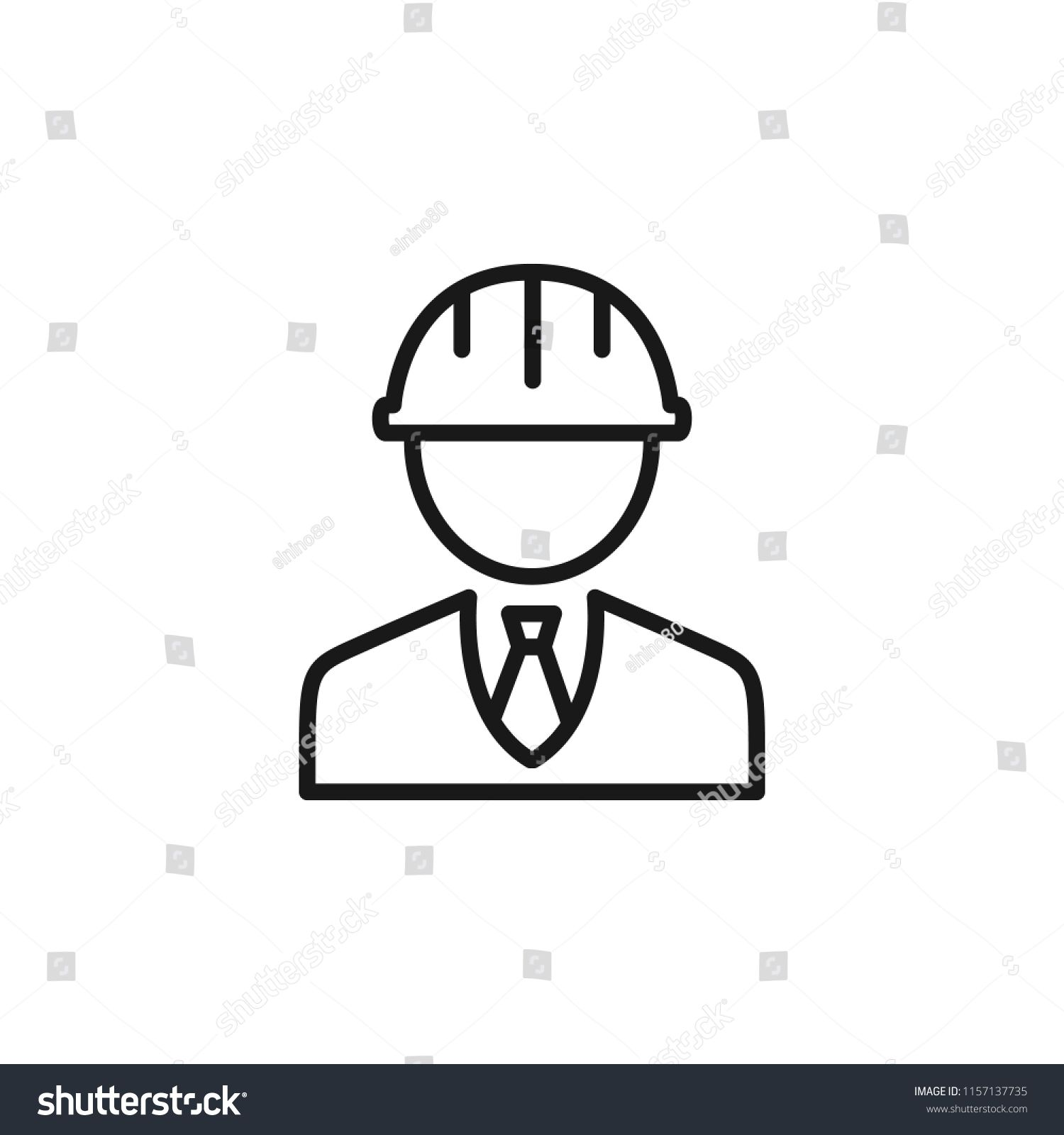 Thin line icon of engineer, people, character, avatar