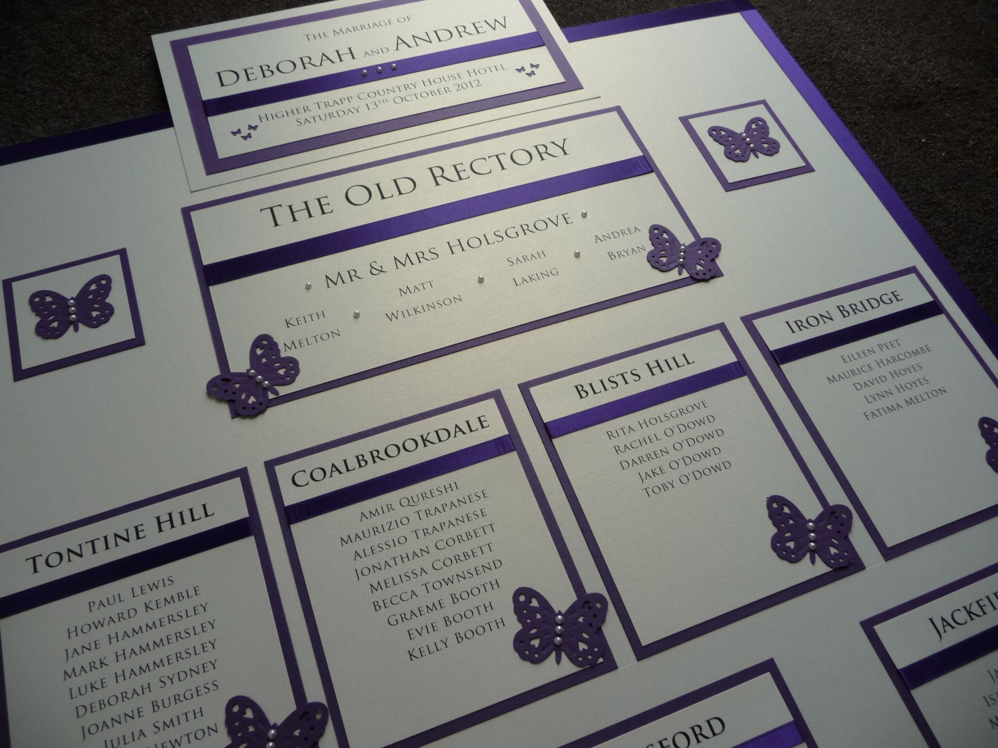 Ivory Purple Butterfly Themed Wedding Table Plan