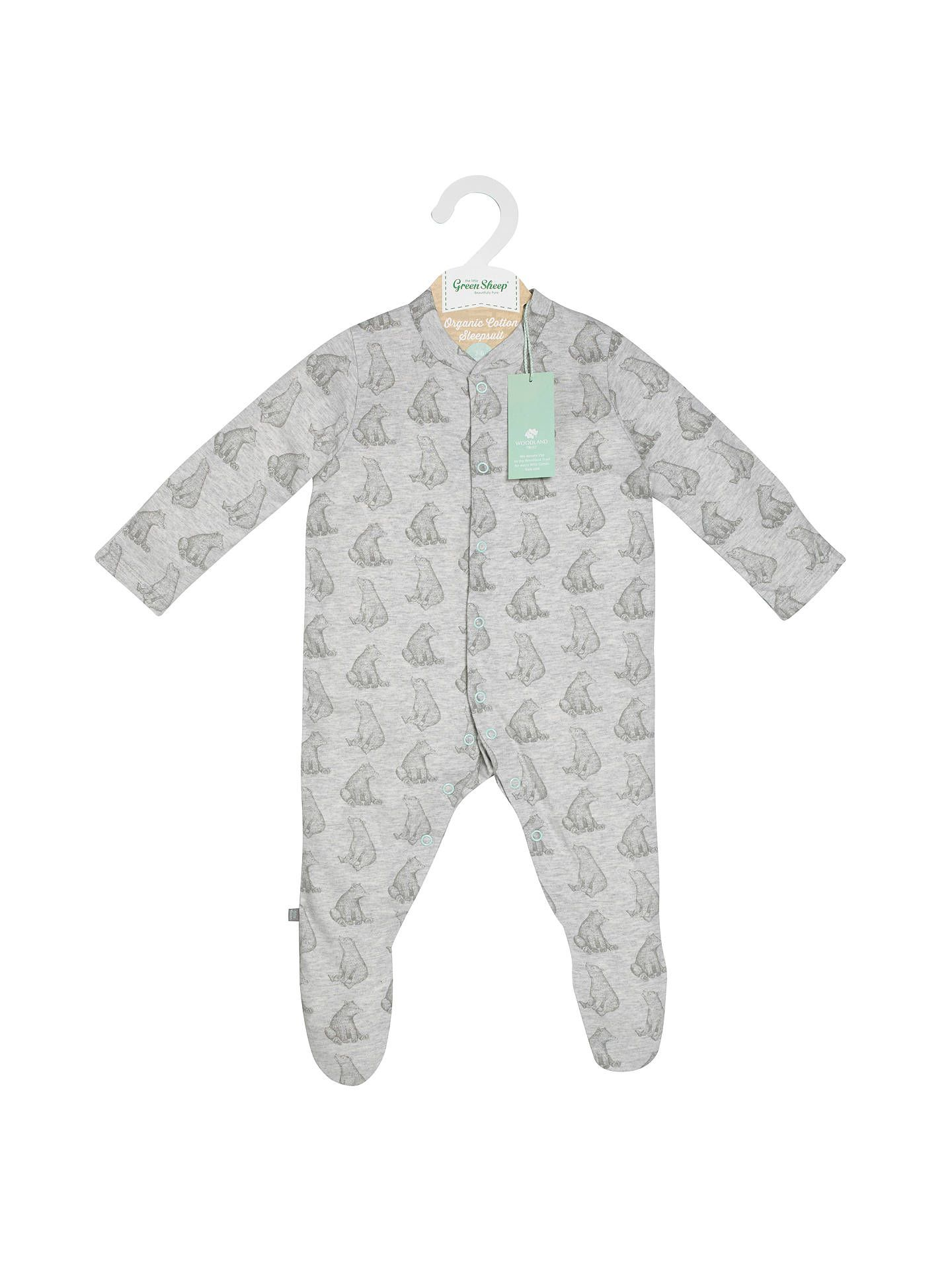 182931ee6 The Little Green Sheep Baby Bear Print Wild Cotton Sleepsuit