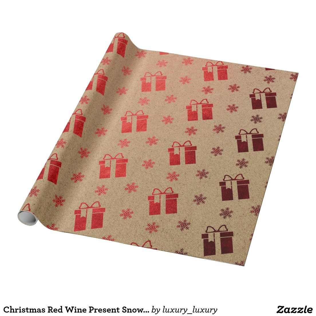 Christmas Red Wine Present Snowflakes Kraft Wrapping Paper