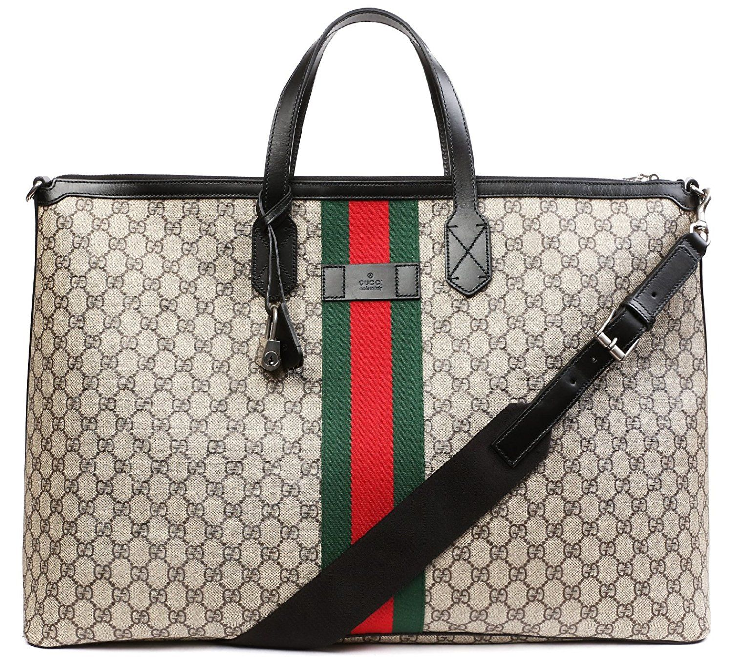 c5dd1a253115 Amazon.com: Wiberlux Gucci Women's Logo Pattern With Stripe Accent Zip Top  Tote Bag One Size Beige: Shoes