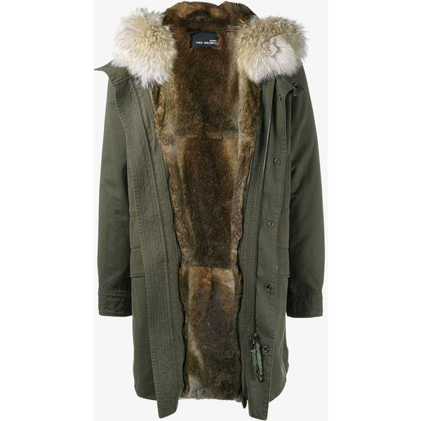 YVES SALOMON Rabbit Fur-Lined Parka with Coyote Fur Hood Trim ($2,750) ❤ liked…