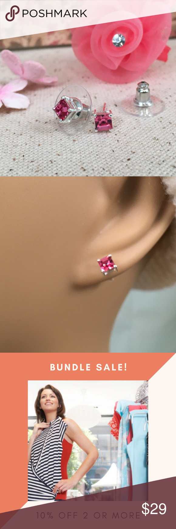 Pink Square Swarovski Crystal SS Earrings Beautiful pink square Swarovski crystal sterling silver earrings.  New with tags.  T.G.W. 2.060.  BQR22 Jewelry Earrings