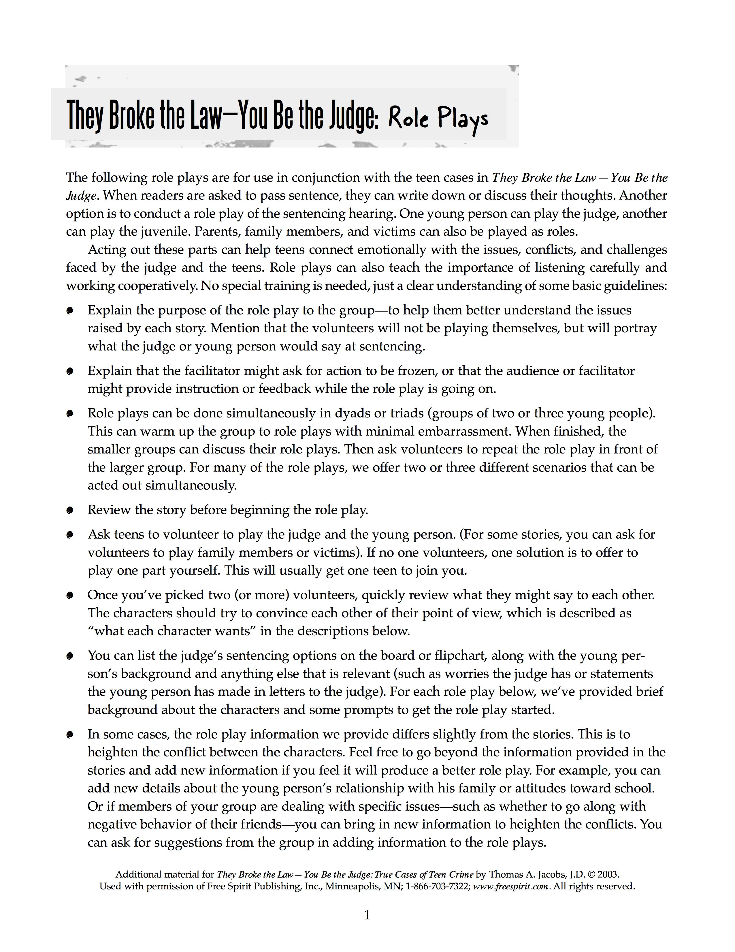Free Printable Role Play Activities To Use With They Broke The Law You Be The Judge The Book