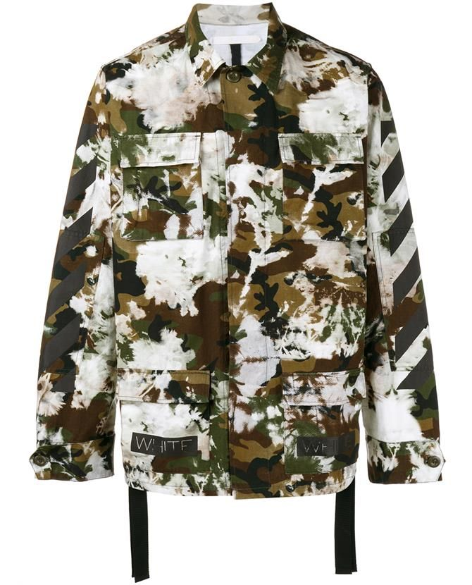 Off White Camouflage Print Jacket Outer Layers Camouflage Camo