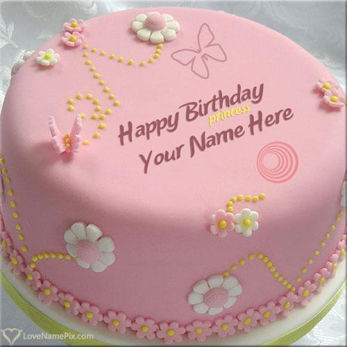 Pretty Princess Birthday Cake For Girls Name Generator Happy