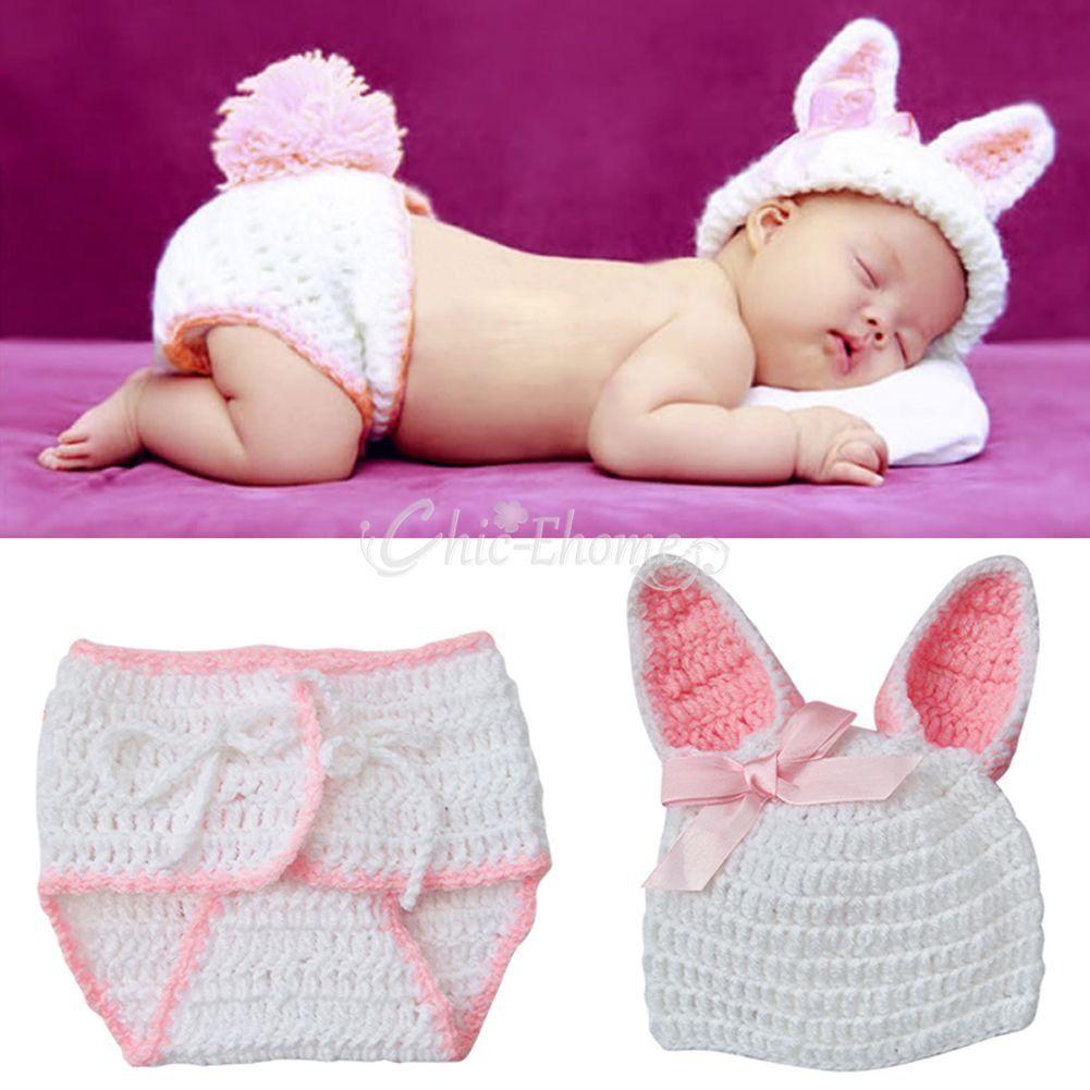 Details zu Neugeborene Baby Set Hase Kaninchen Kostüm Strick Mütze ...