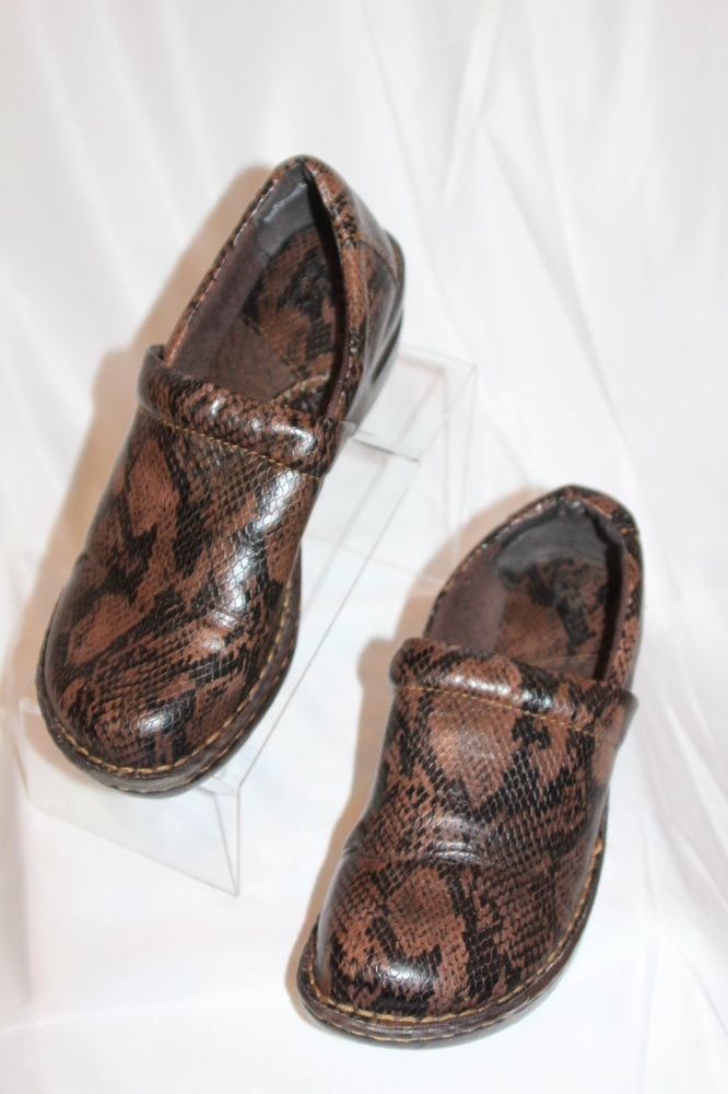 b9d0dbe408ab BOC Born Concept US 9 EU 40.5 Brown Faux Snake Skin Slip On Clogs Shoes NEW   BOCBornConcept  Clogs  CasualWork
