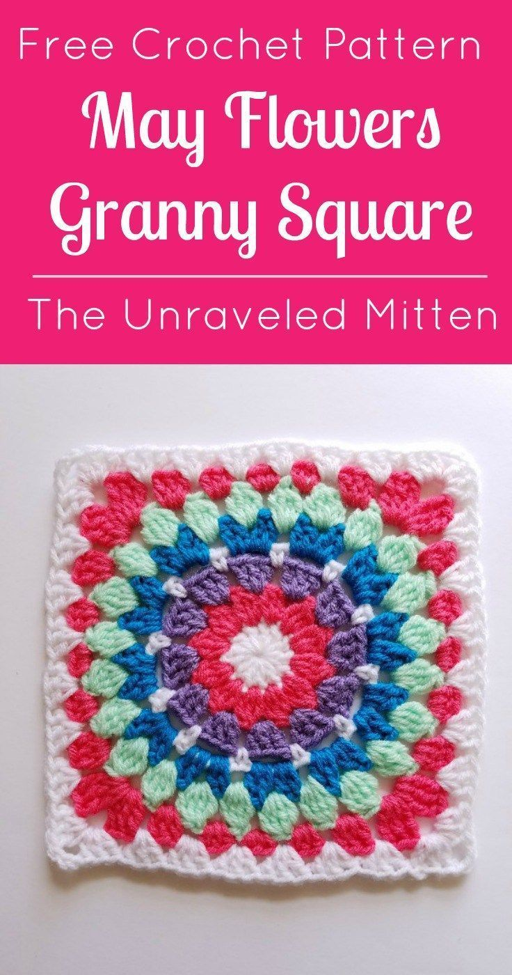 May Flowers Granny Square: Free Crochet Pattern | Best Granny ...