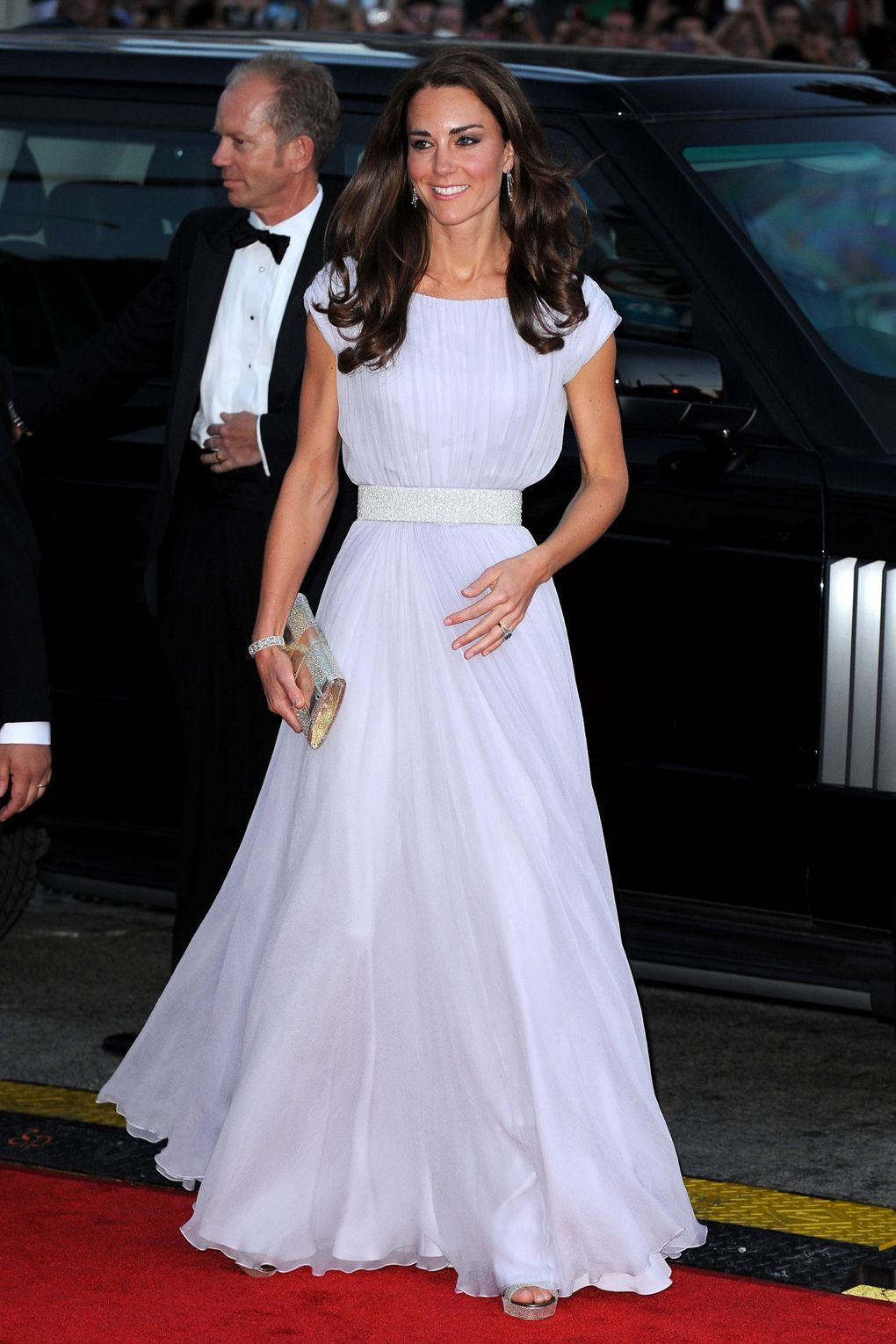 14ac4ef087a7 She wore an Alexander McQueen gown with Jimmy Choo heels and a clutch for  the BAFTA Brits to Watch gala dinner in LA.
