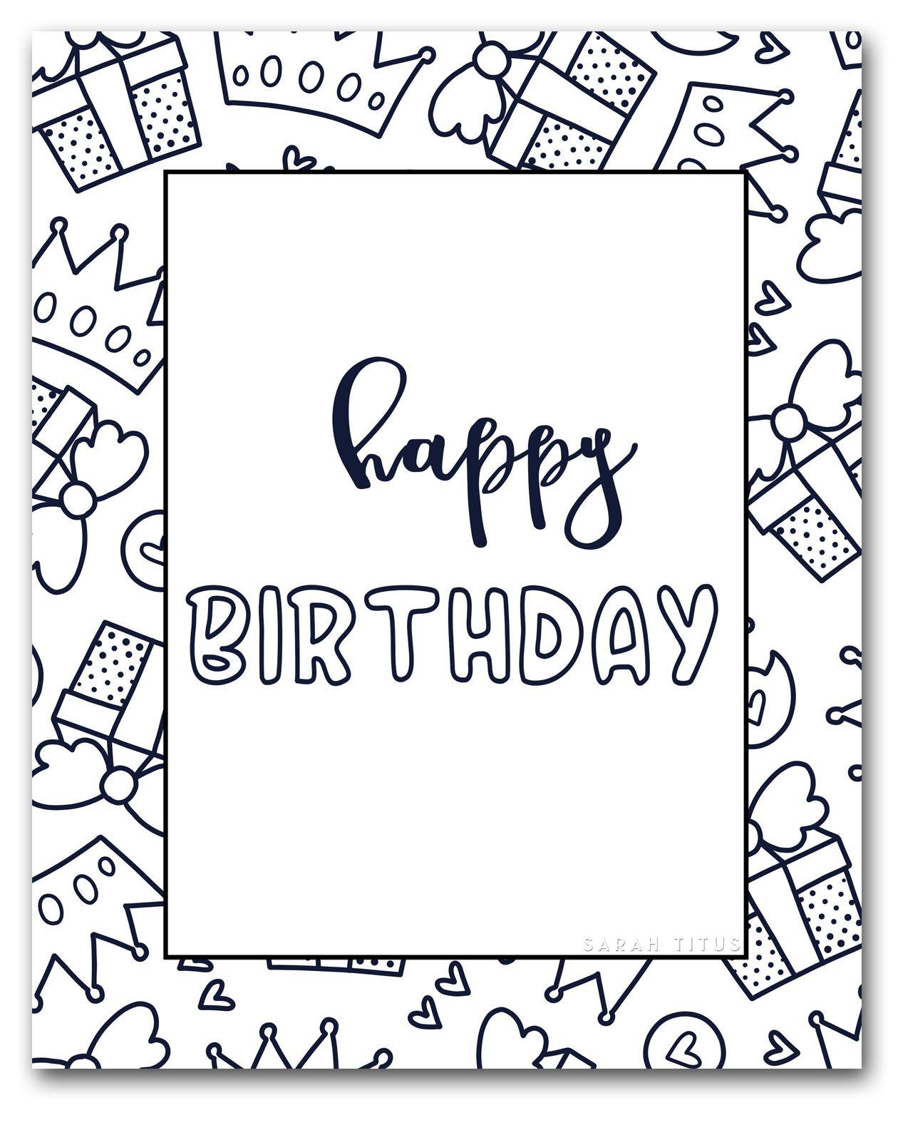 Printable Happy Birthday Coloring Cards Happy Birthday Coloring