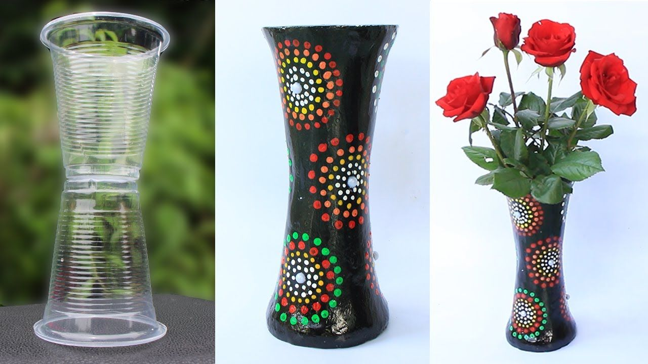 How To Make Flower Vase From Plastic Cup And Plaster Youtube