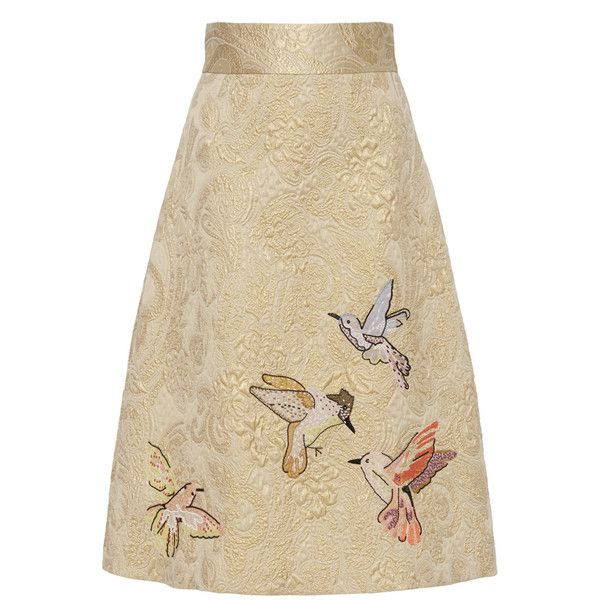 Red Valentino A Line Bird Motif Skirt (15.645 ARS) ❤ liked on Polyvore featuring skirts, brown high waisted skirt, a line skirt, high waist skirt, paisley print skirt and gold skirt