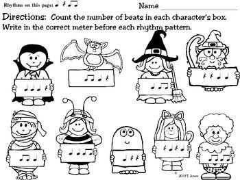 Music Worksheets: Spooktacular {Identify the Meter}