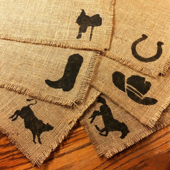 6 burulap placemats 12x15 hand painted rodeo home decor 6 burulap placemats 12x15 hand painted rodeo home decor housewarming teraionfo