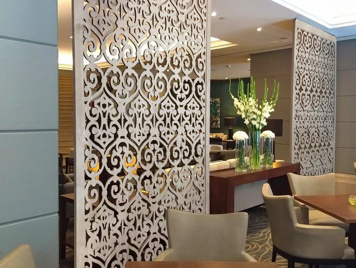 Commercial tableaux veneer designer grilles and decorative screens can be used in multiple - Luxurious interior design with modern glass and modular metallic theme ...
