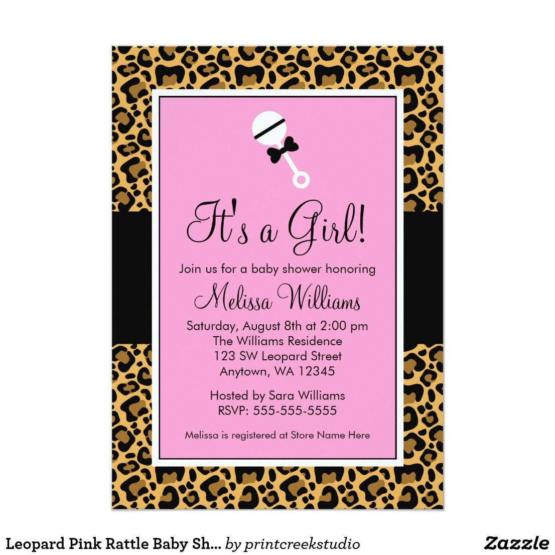 Leopard Pink Rattle Baby Shower Invitations | Fun baby, Chic baby ...