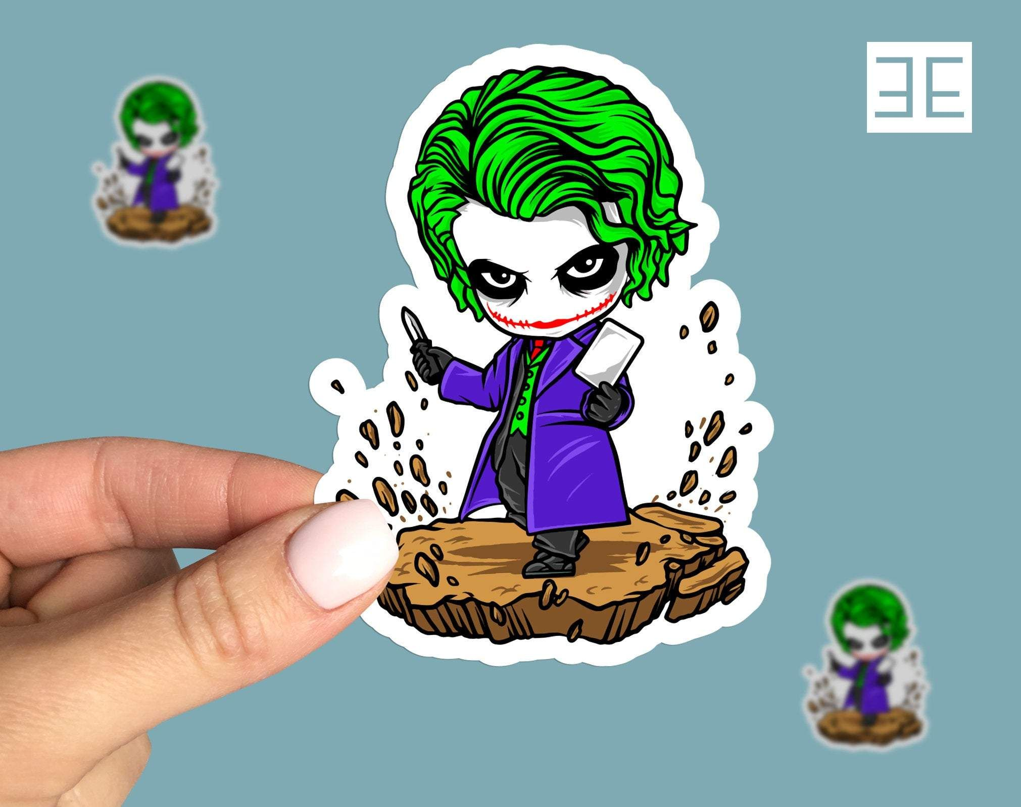 Photo of Joker Vinyl Sticker, batman movie, joker sticker, anime, cartoon, Laptop sticker – 4 x 3