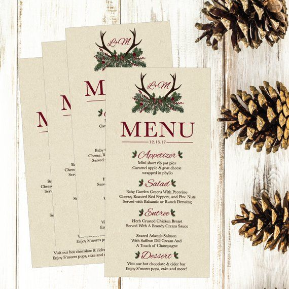 rustic winter pine printable wedding menu template christmas deer