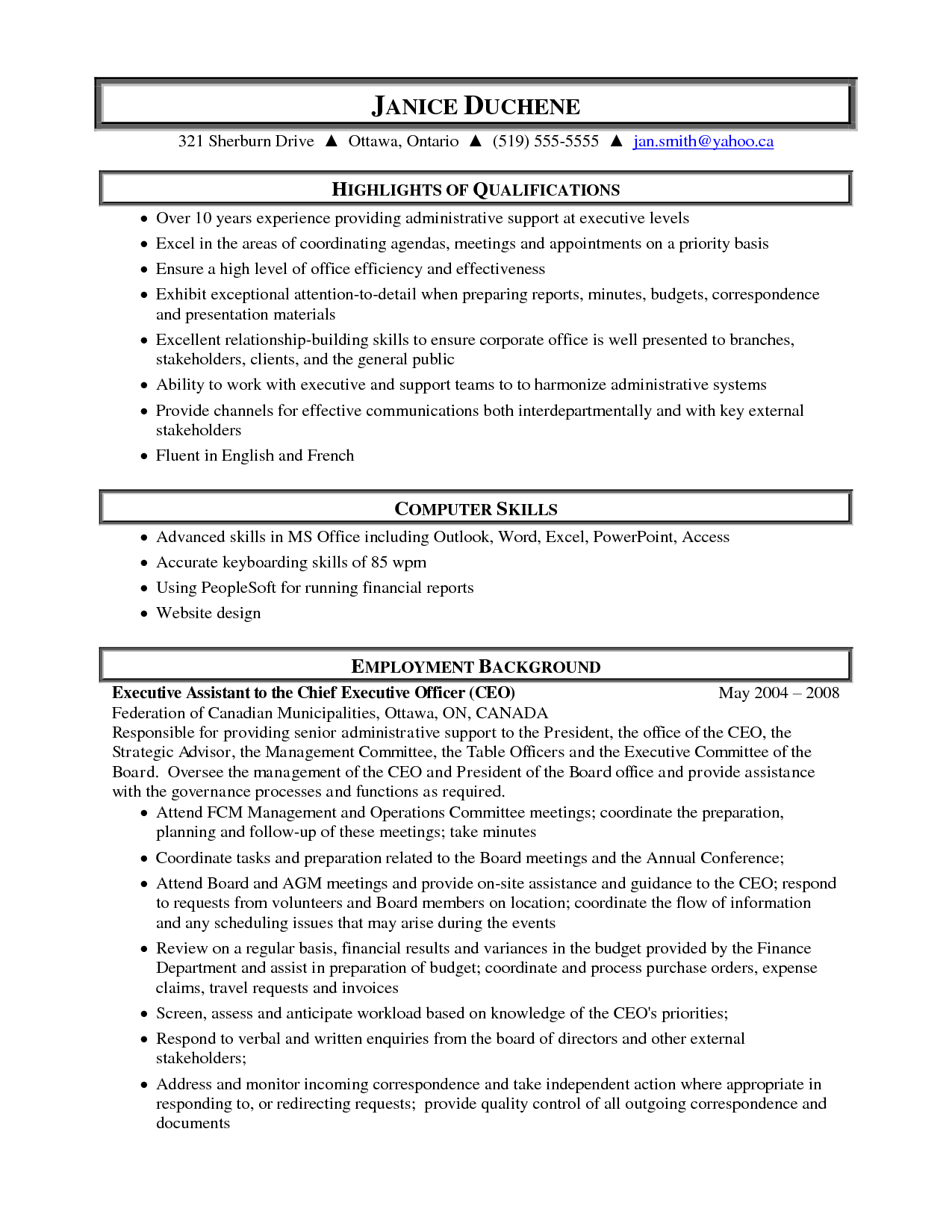 Executive Assistant Resume Samples Sample Resume Of Administrative Assistant Sample Resume Of