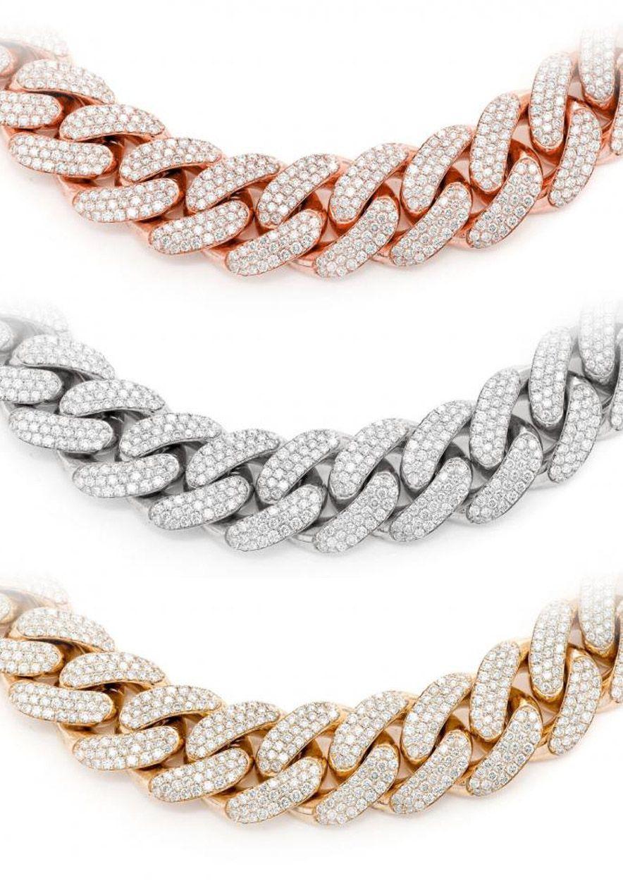 ICEBOX DIAMOND CUBAN NECKLACE 14K Detailed jewelry, Gold