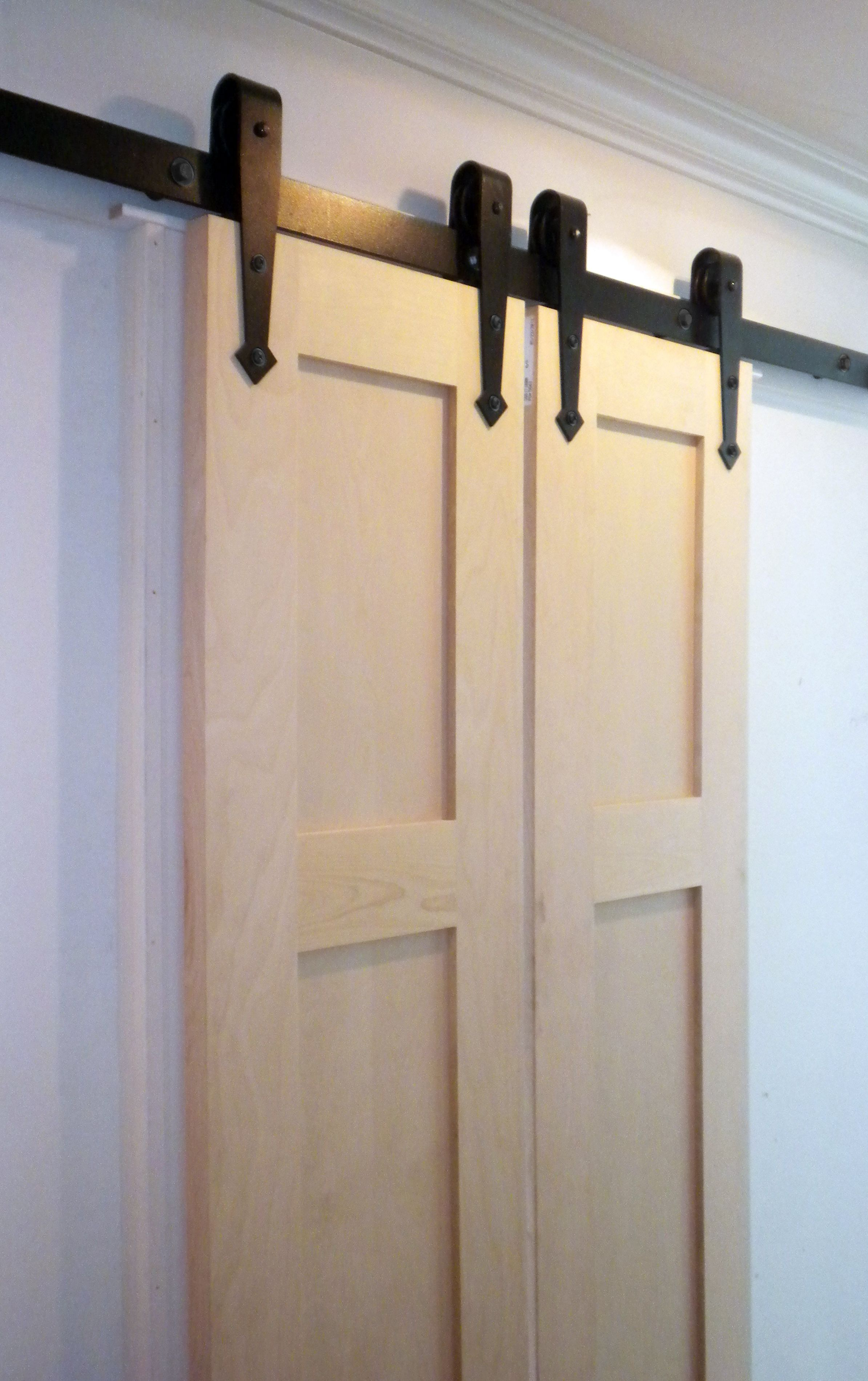 Professional Builder Uses Antique Style Box Track And Hangers For This Craftsman Home Interior Exterior Doors Craftsman House Door Accessories